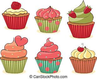 Sketchy Cupcakes Set. - Sketchy yummy cupcakes set. CMYK...