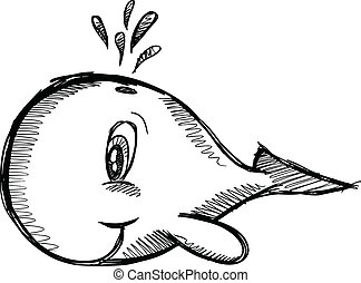 Sketchy Cute Whale Vector