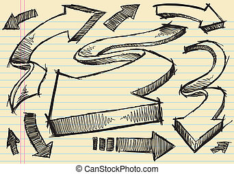 Sketchy doodle Arrows Vector set