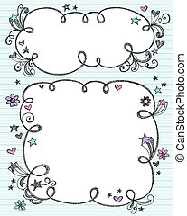 Hand-Drawn Sketchy Cloud Shaped Bubble Border Doodle Frames- Notebook Doodles on Blue Lined Paper Background- Vector Illustration