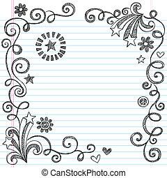 sketchy, doodle, escola, página, borda