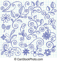 Sketchy Doodle Leaves and Swirls - Hand-Drawn Nature Leaves...