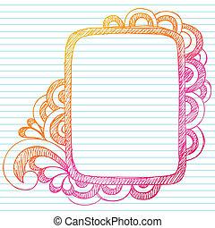Sketchy Notebook Doodles Rectangle Frame Back to School Design Element on Lined Notebook Paper Background- Vector Illustration