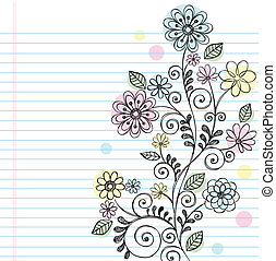 Hand-Drawn Flowers, Leaves, and Swirls Sketchy Notebook Doodles Vector Illustration on Lined Sketchbook Paper Background