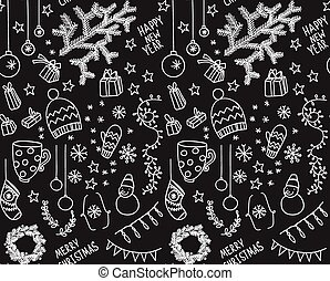 Sketchy doodle winter pattern