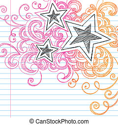 sketchy, doodles, 星, 矢量, 設計