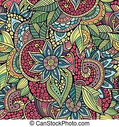 sketchy, doodles, 장식적이다, 꽃의, 꾸밈이다, seamless, 패턴