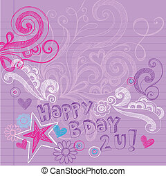 Sketchy Doodles Birthday Vector
