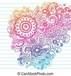sketchy, doodles, fiori, vettore