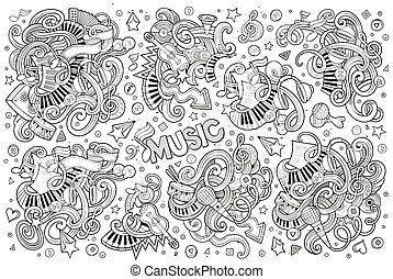 sketchy, doodles, gegenstände, satz, musik, vektor, karikatur, hand, gezeichnet