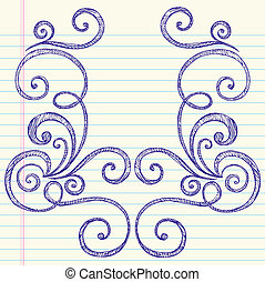 Sketchy Doodles Swirls Frame Vector
