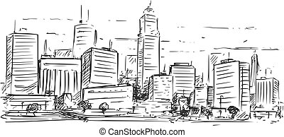Sketchy Drawing of City High Rise Landscape