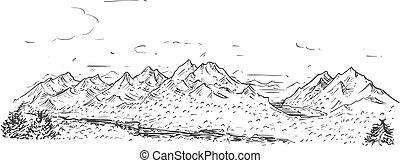 Sketchy Drawing of Mountain Hilly Rocky Landscape