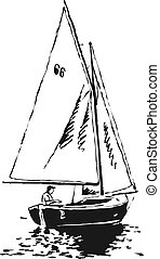 sailing boat - sketchy drawing style illustration of a man ...