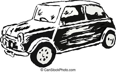sketchy drawing style illustration of a mini motor car