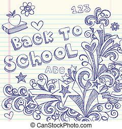 sketchy, escola, costas, doodles