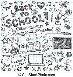 sketchy, escuela, conjunto, espalda, doodles