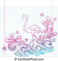 sketchy, flamingo, gekritzel, sommer