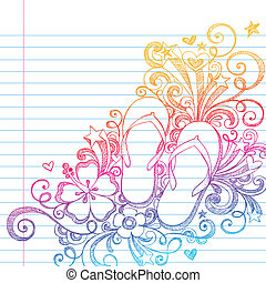 Sketchy Flip Flops Beach Doodle Vec - Hand-Drawn Summer...