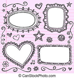 Sketchy Frames Notebook Doodles - Frames and Borders...