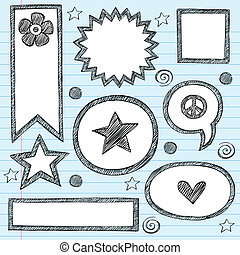 Sketchy School Shape Frames and Speech Bubbles Hand-Drawn Notebook Doodles Set- Vector Illustration Design Elements on Lined Sketchbook Paper Background