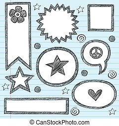 Sketchy School Shape Frames and Speech Bubbles Hand-Drawn Notebook Doodles Set- Vector Illustration Design Elements on Lined Sketchbook Paper Background