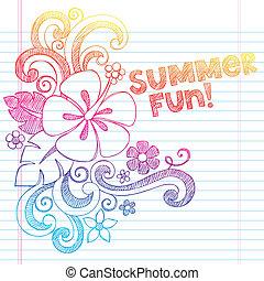 sketchy, gekritzel, sommer, hibiskus