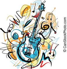 Sketchy Guitar - Vector Image was digital created. isolated...