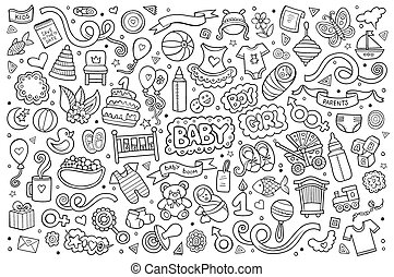 Sketchy hand drawn Doodle cartoon set of objects and symbols...
