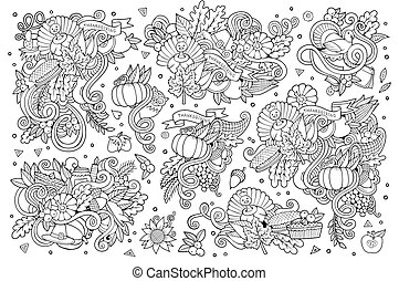 Sketchy hand drawn Doodle cartoon set of objects and symbols on the Thanksgiving autumn theme