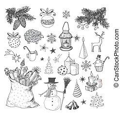 sketchy, hand-drawn, ensemble, noël, elements.