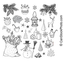 sketchy, hand-drawn, jogo, natal, elements.