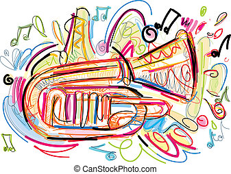 Sketchy Horn - Vector Image was digital created. isolated on...