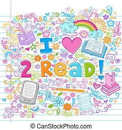 sketchy, kärlek, vektor, doodles, läsa