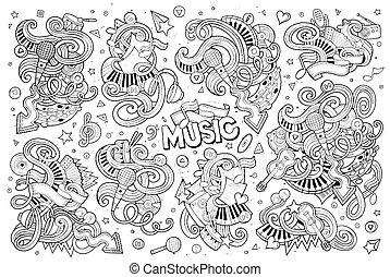 sketchy, karikatur, gegenstände, satz, musik, doodles, hand, gezeichnet