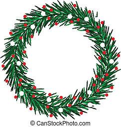 sketchy, kranz, weihnachten