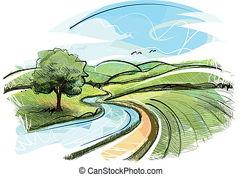 Sketchy Landscape - Landscape Vector Image was digital...