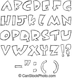 Sketchy letters - vector sketchy alphabet
