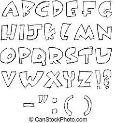 sketchy, lettres
