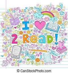 sketchy, liefde, vector, doodles, lezen