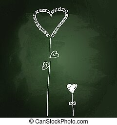 Sketchy love heart design on blackboard