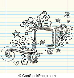 sketchy, lunchbox, école, doodles
