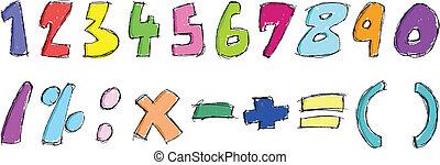 sketchy, números, coloridos