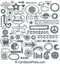 Sketchy Notebook Doodles Set of Hand-Drawn Design Elements with Flowers, Shapes, Hearts, Stars, Arrows and More- Vector Illustration on Lined Sketchbook Paper Background