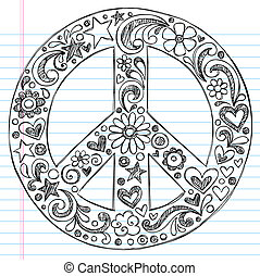 Hand-Drawn Sketchy Peace Sign Doodle with Flowers, Hearts, and Stars on Lined Notebook Paper Background- Vector Illustration
