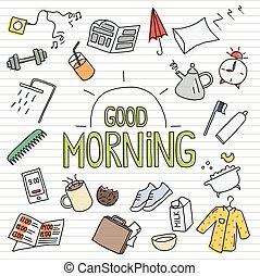 sketchy, objetos, manhã