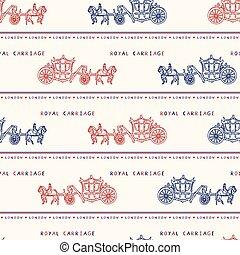 sketchy, pattern., símbolo, real, seamless, britânico, famosos, carruagem, vetorial, londres, histórico