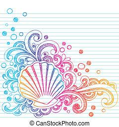 sketchy, playa, ostra, concha marina, doodl