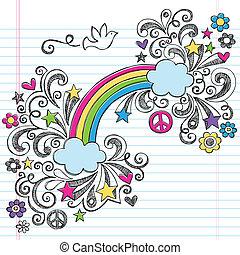 sketchy, regenboog, duif, doodles, vrede