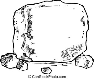 sketchy rock isolated on white background